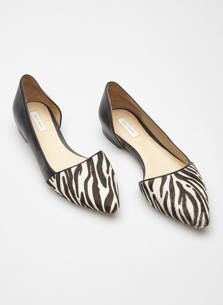 Cole Haan BLACK LEATHER AND ZEBRA-PRINT CALF HAIR ORSAY FLATS
