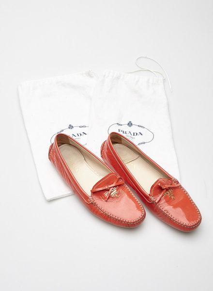 Prada CORAL PATENT LEATHER LOAFERS