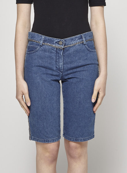 Chanel DENIM BERMUDA SHORTS WITH SILVER DETAILS