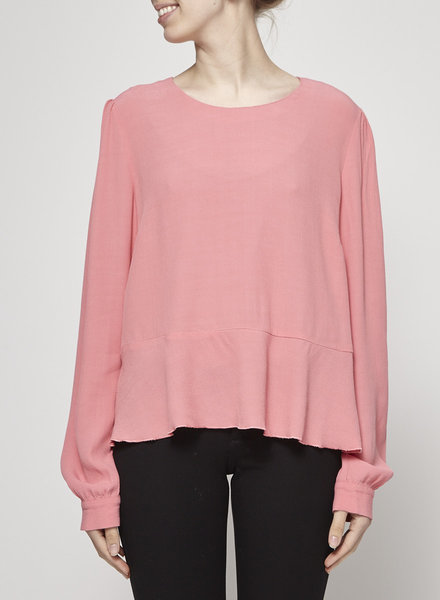 See by Chloe CORAL PINK SHIRT WITH PEPLUM EFFECT