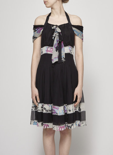 Chanel LOGO-PRINT BLACK SILK DRESS