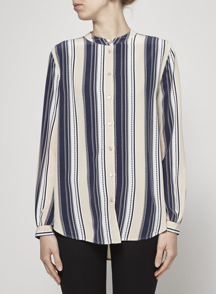 Equipment NAVY AND BEIGE STRIPED SHIRT