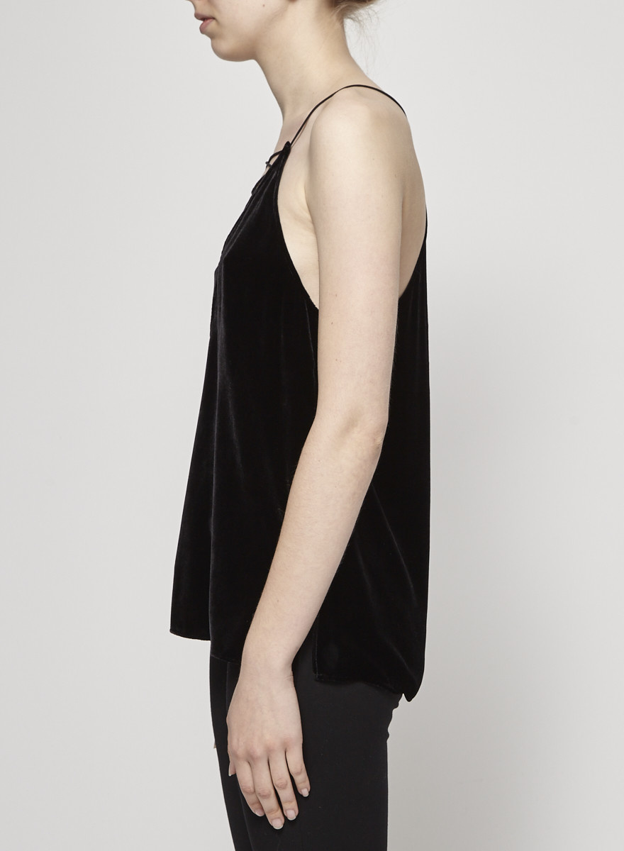 CAMI NYC Black Velvet Camisole with Silk