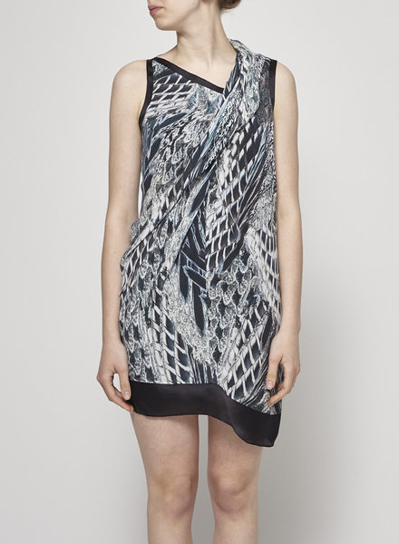 Helmut Lang ON SALE - FEATHER-PRINT DRAPED DRESS