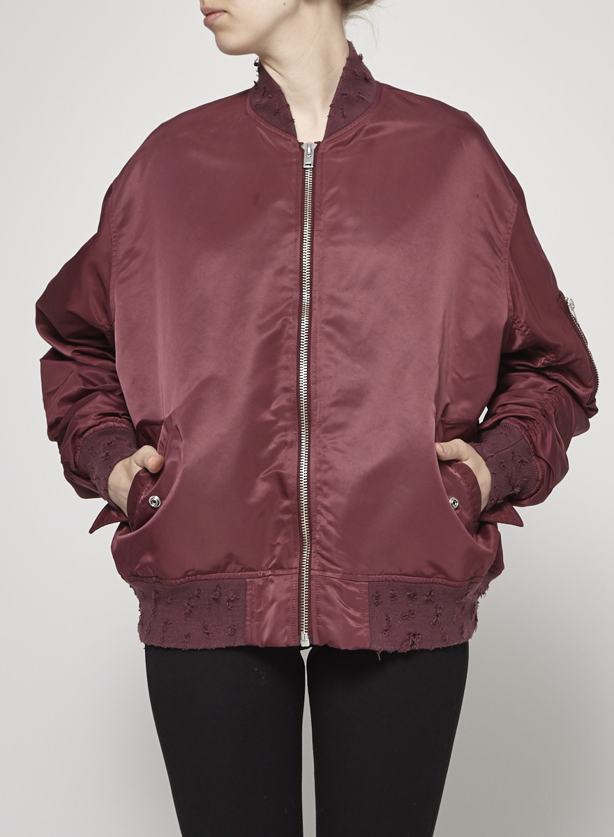 Iro Burgundy Bombers Jacket With Torn Effect Collar