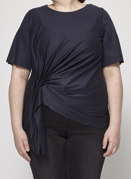 COS NAVY DRAPED-FRONT  COTTON TOP - NEW