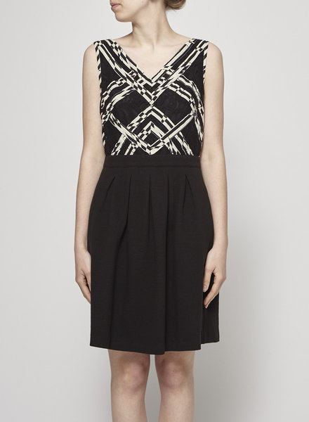 Anthropologie BLACK AND WHITE LACE AND COTTON DRESS
