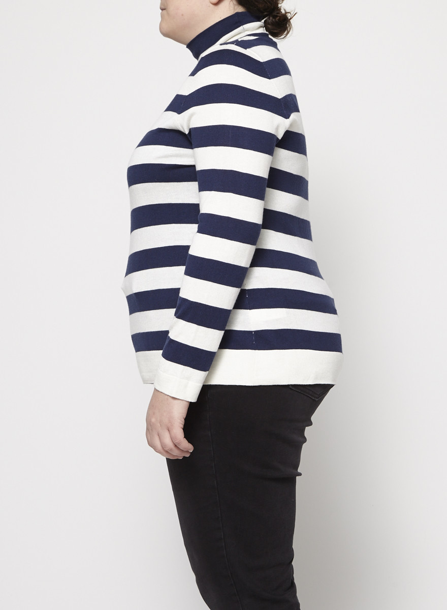 Marina Rinaldi Cashmere and Silk Striped Turtleneck