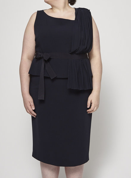 Marina Rinaldi PLEATED AND SHEER NAVY DRESS