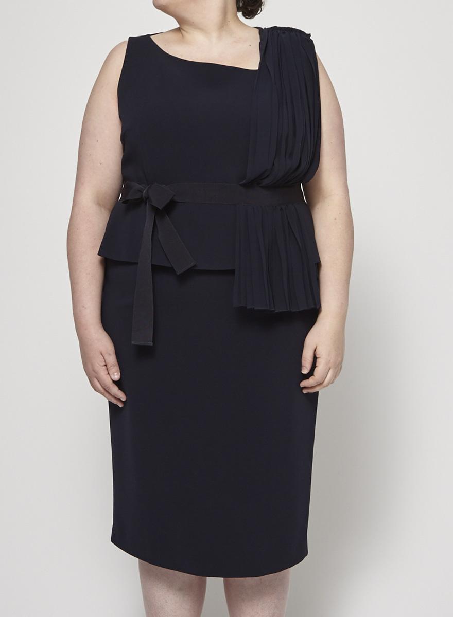 8a0584ba1b Pleated and Sheer Navy Dress - Marina Rinaldi - DEUXIEME EDITION