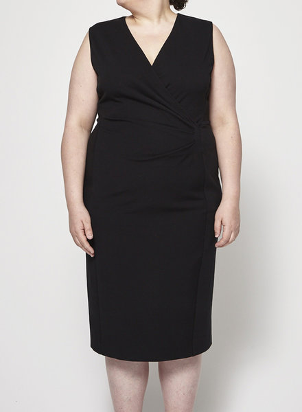 Marina Rinaldi SALE (WAS $240) - BLACK SLEEVELESS WRAP DRESS