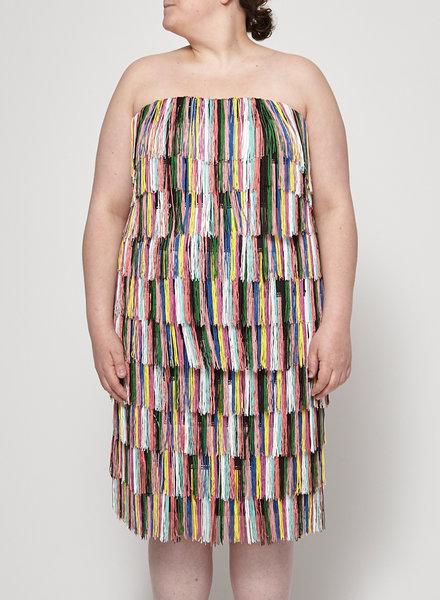 Eloquii MULTICOLOR STRAPLESS FRINGED DRESS