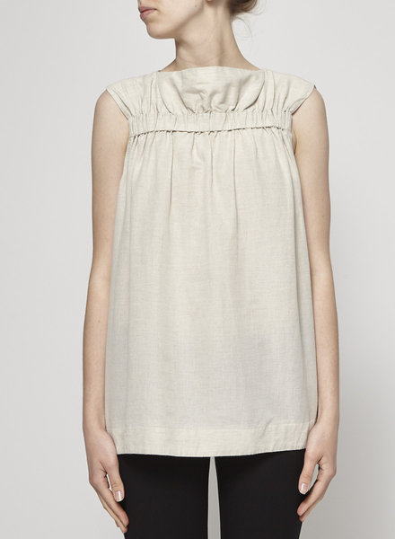 COS BEIGE PLEATED FRONT & SLEEVELESS TOP