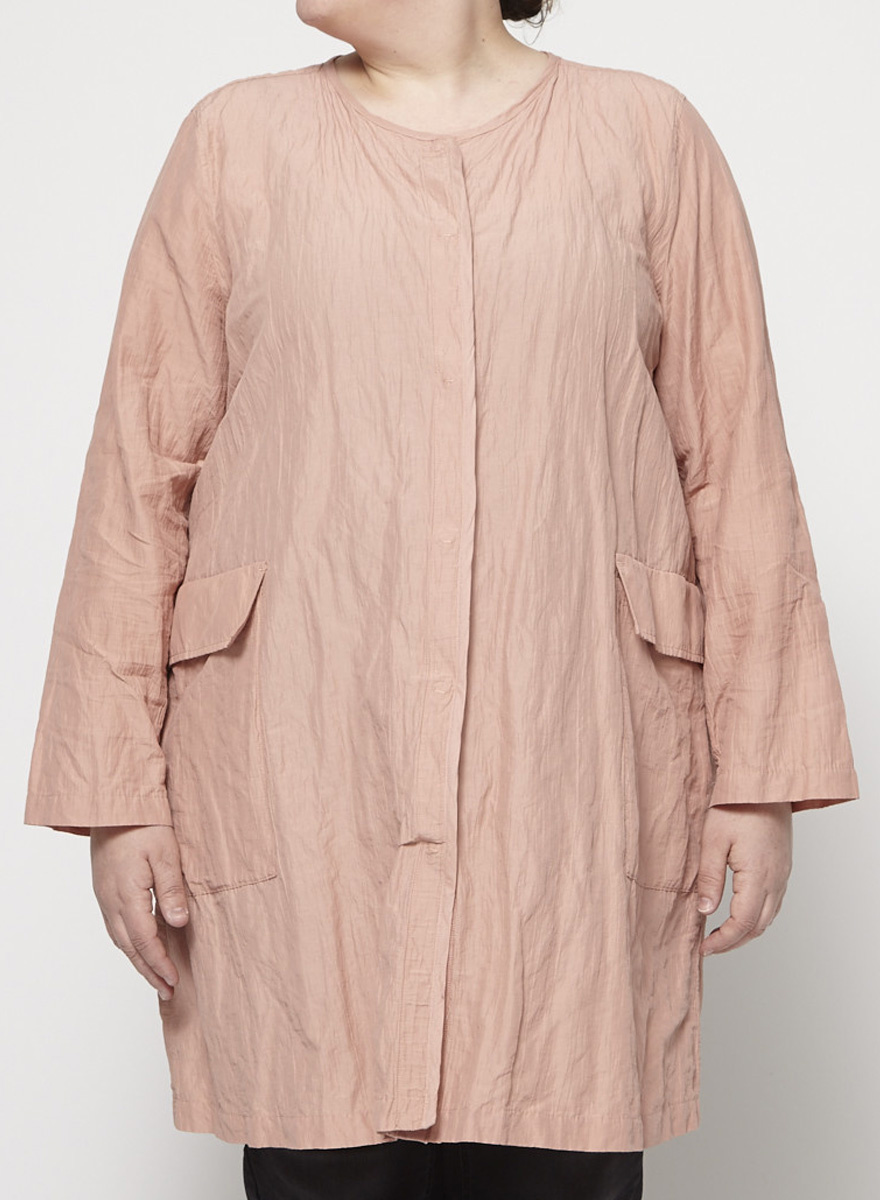 Eileen Fisher Wrinkled salmon pink jacket