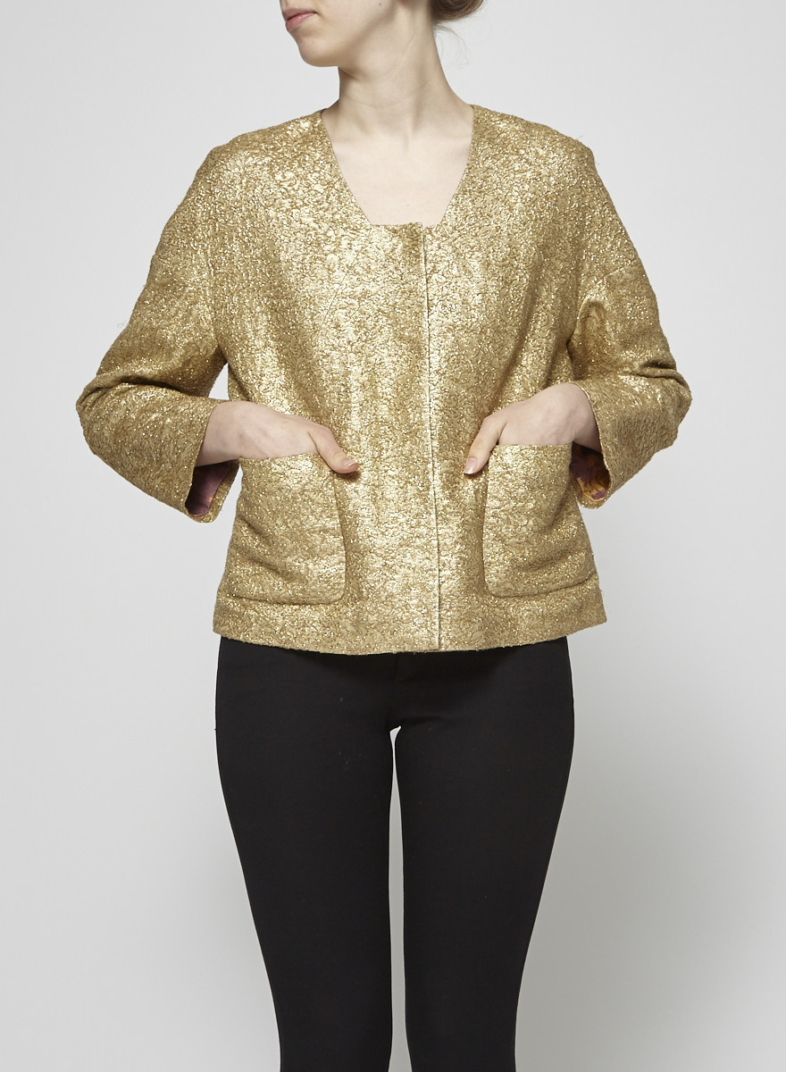 Ports 1961 Gold Metallic Jacquard Silk & Linen Blend Jacket