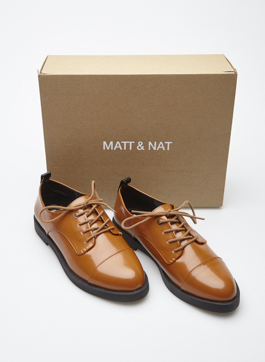 Matt & Nat Brown Patent Vegan Leather Brogues - New