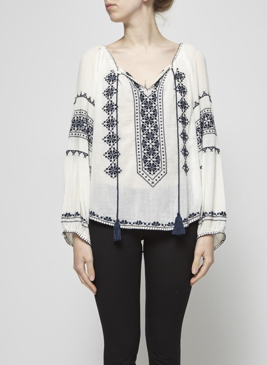 Star Mela White Embroidered Cotton Blouse