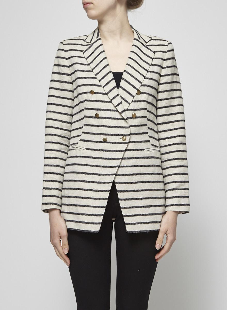 Judith & Charles Beige and Black Striped Linen Blazer