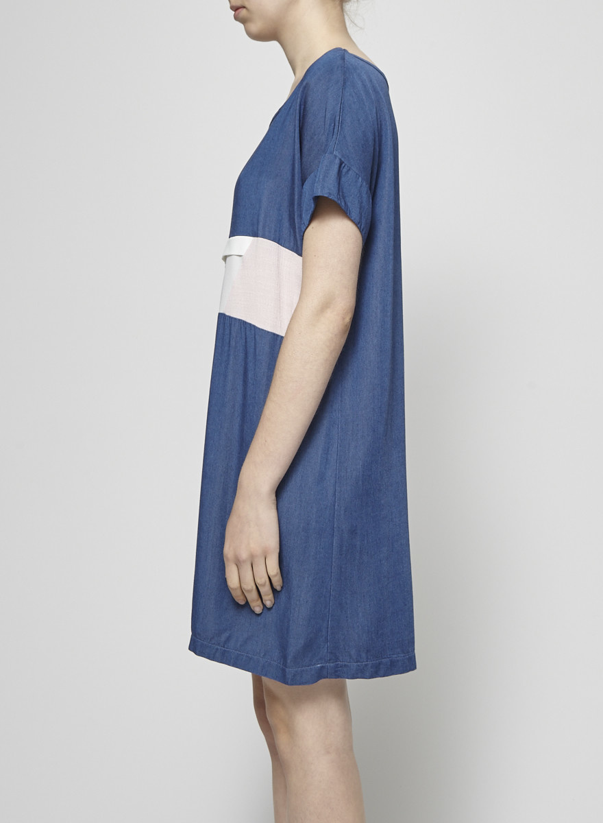 Grob Off-White and Pale Pink Little Boat Chambray Dress