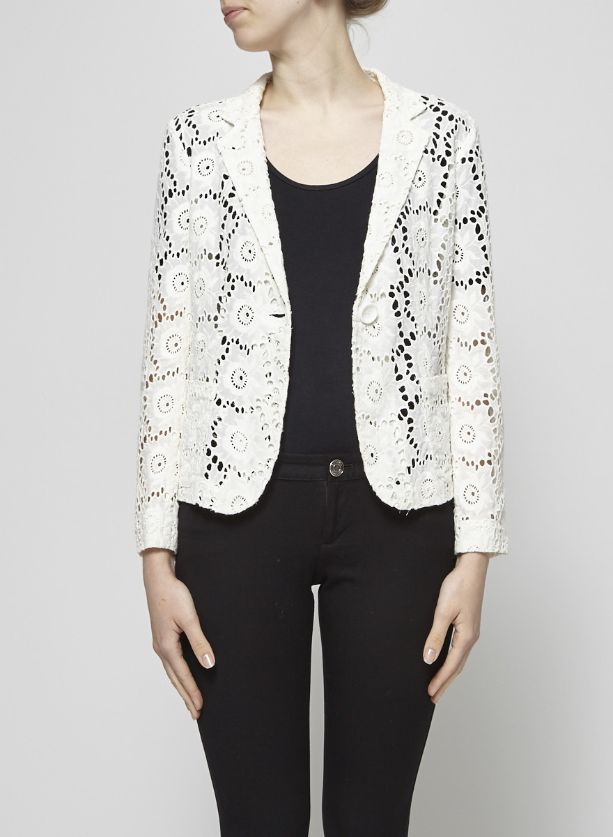 Nanette Lepore Broderie Anglaise Off-White Jacket