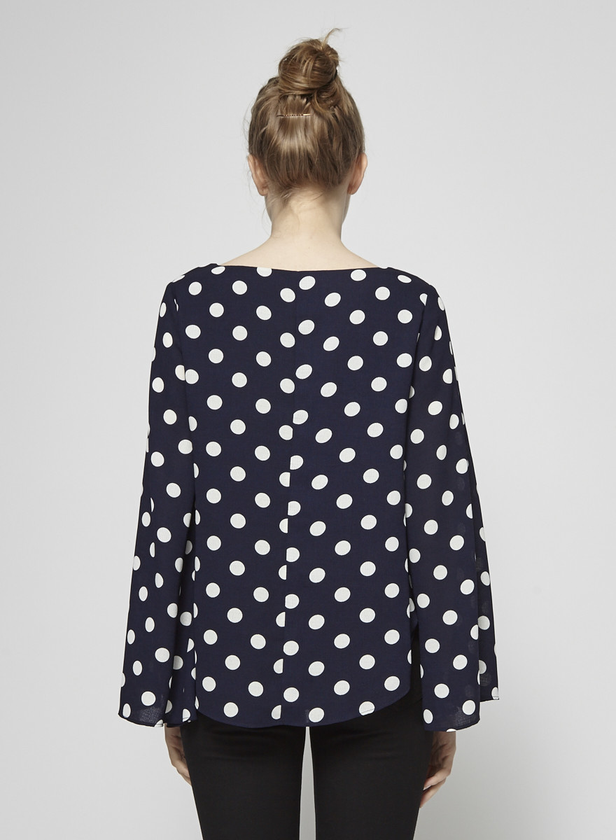 PS The Label Blue Polka-Dot Cape-Effect Blouse
