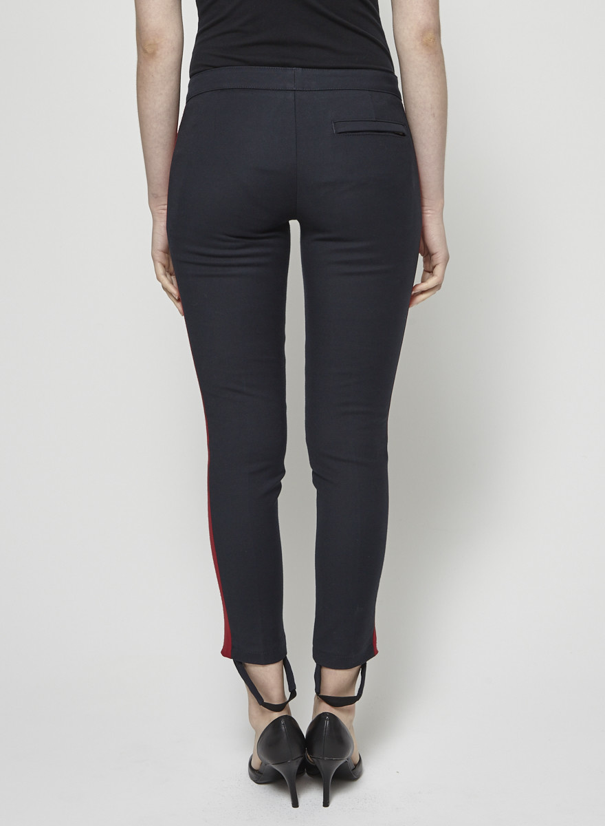 See by Chloe Navy Skinny Pants with Red Stripes