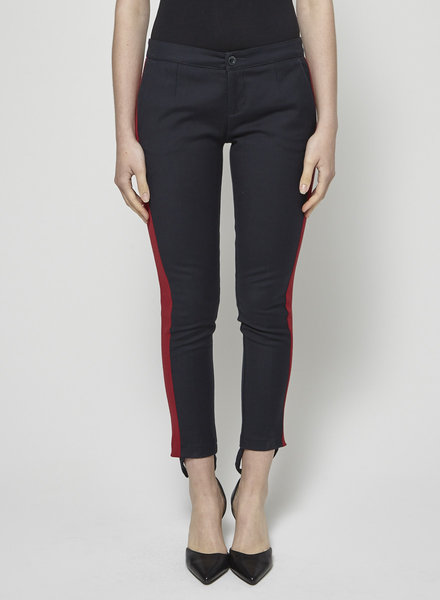 See by Chloe SOLDE - PANTALON SKINNY MARINE À BANDES ROUGES