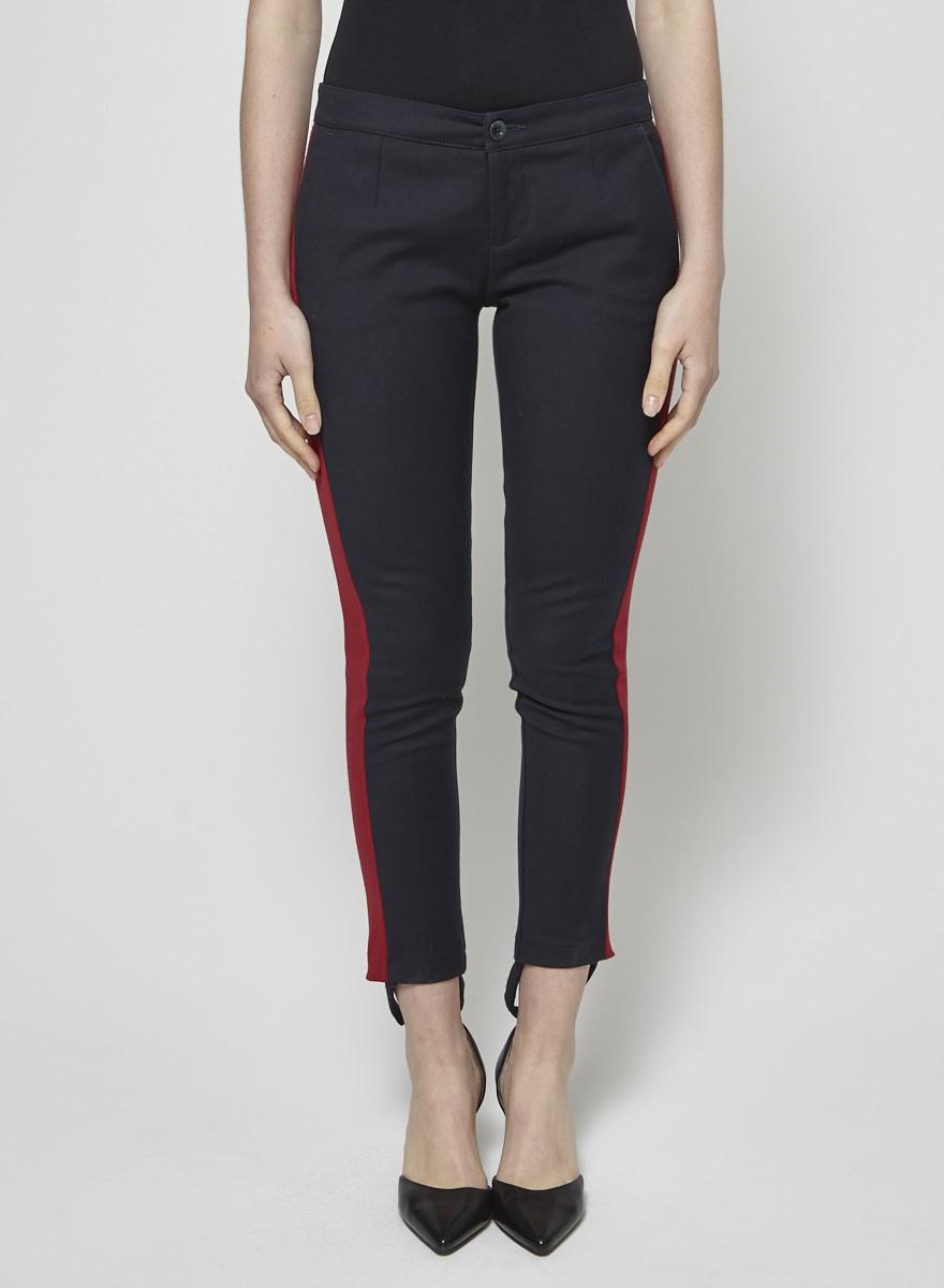 See by Chloe Pantalon skinny marine à bandes rouges