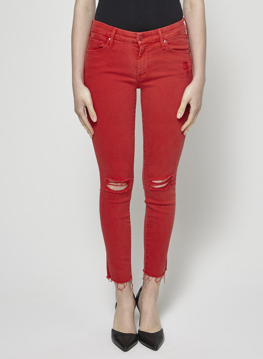 Mother Jeans rouge effet déchiré