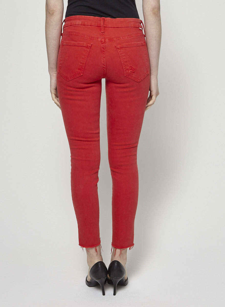 Mother Red Distressed Jeans