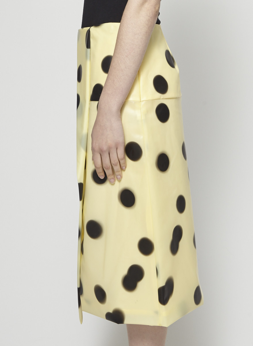 Marc by Marc Jacobs Yellow Polka-Dot PVC-Effect Skirt