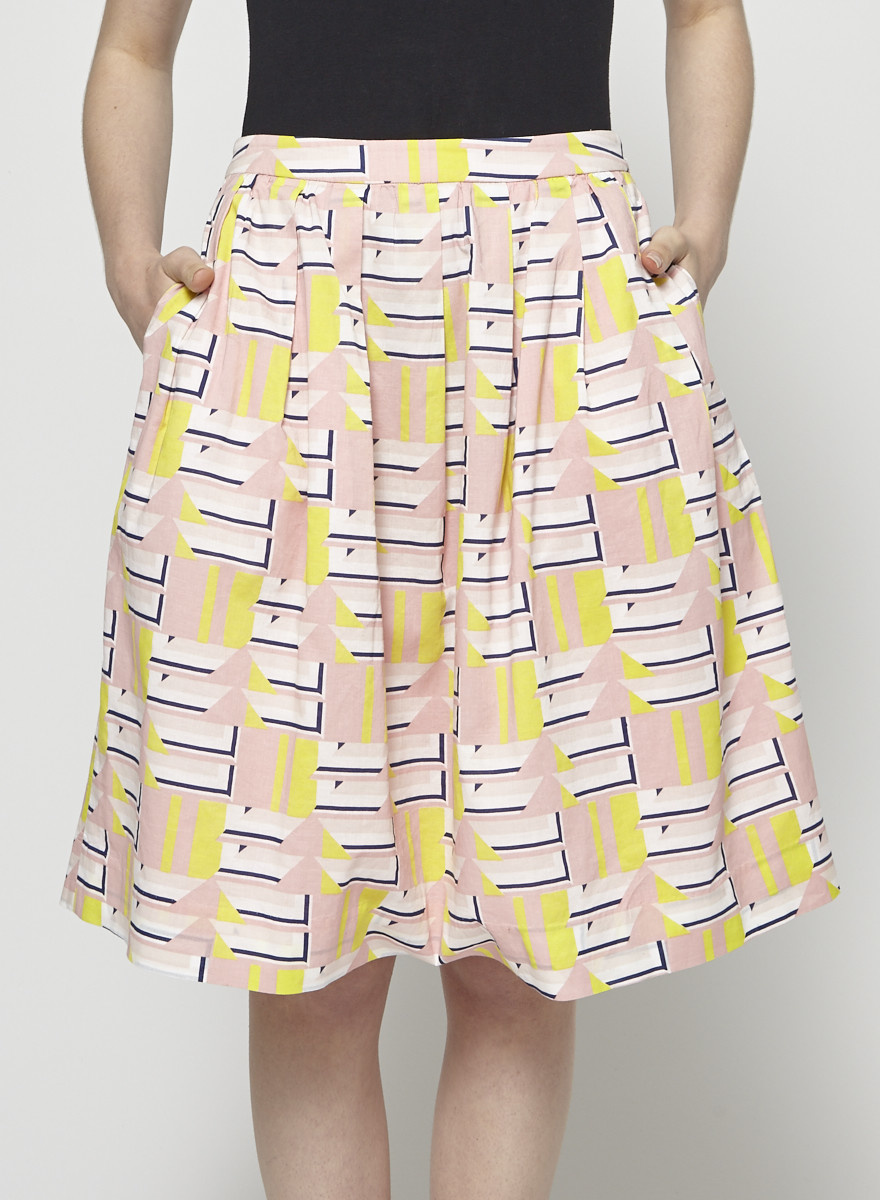 J.Crew Pink and Yellow Printed Skirt