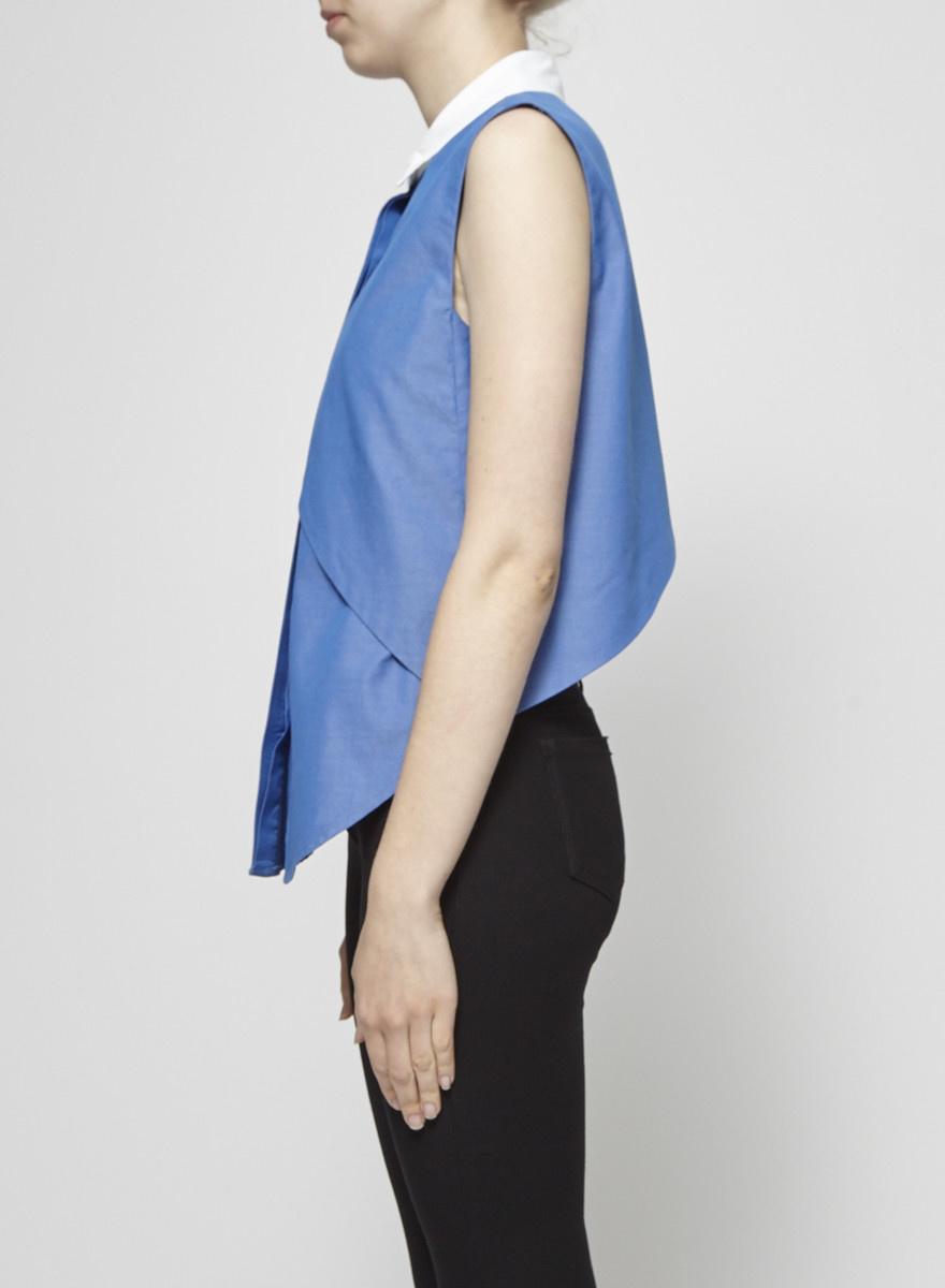 Jonathan Simkhai Asymmetrical Sleeveless Chambray White Collar Shirt