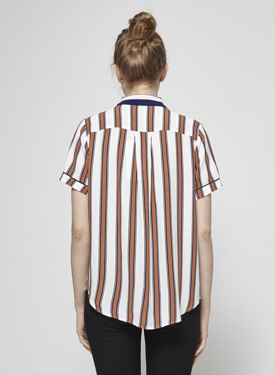 Baum und Pferdgarten Brown and Navy Striped Shirt
