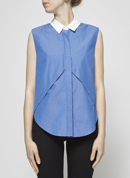 Jonathan Simkhai ASYMMETRICAL SLEEVELESS CHAMBRAY WHITE COLLAR SHIRT