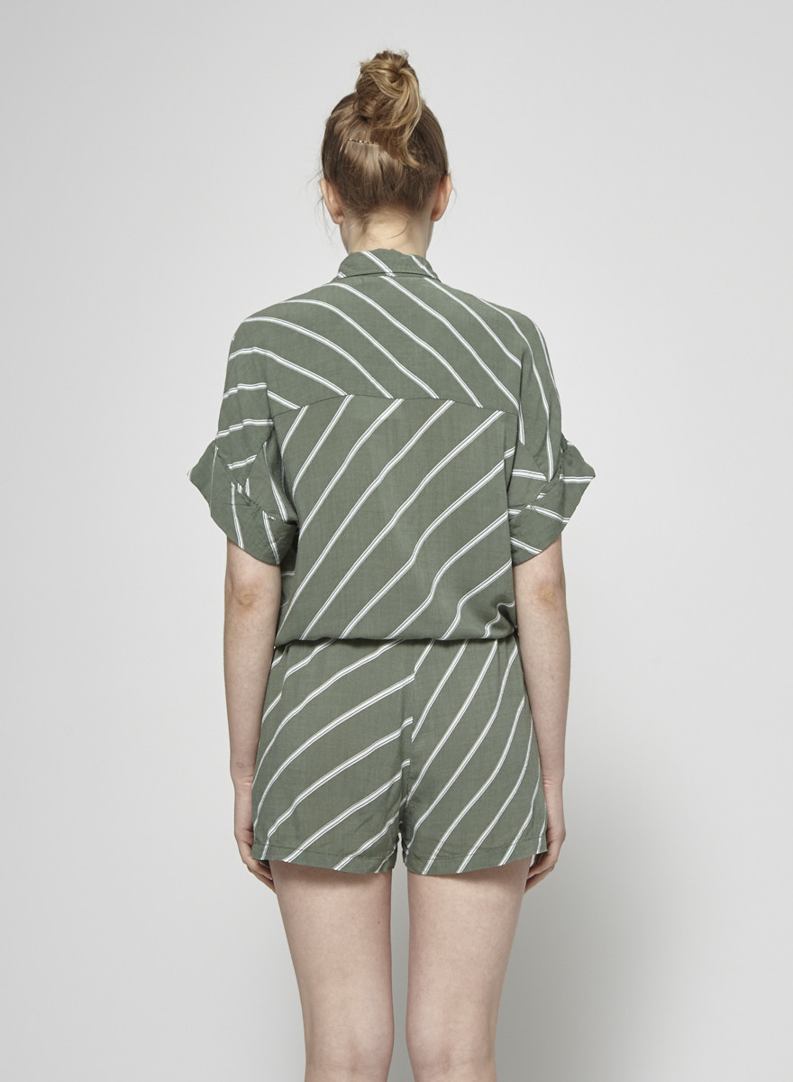 Faithfull The Brand White Stripes Green Jumpsuit