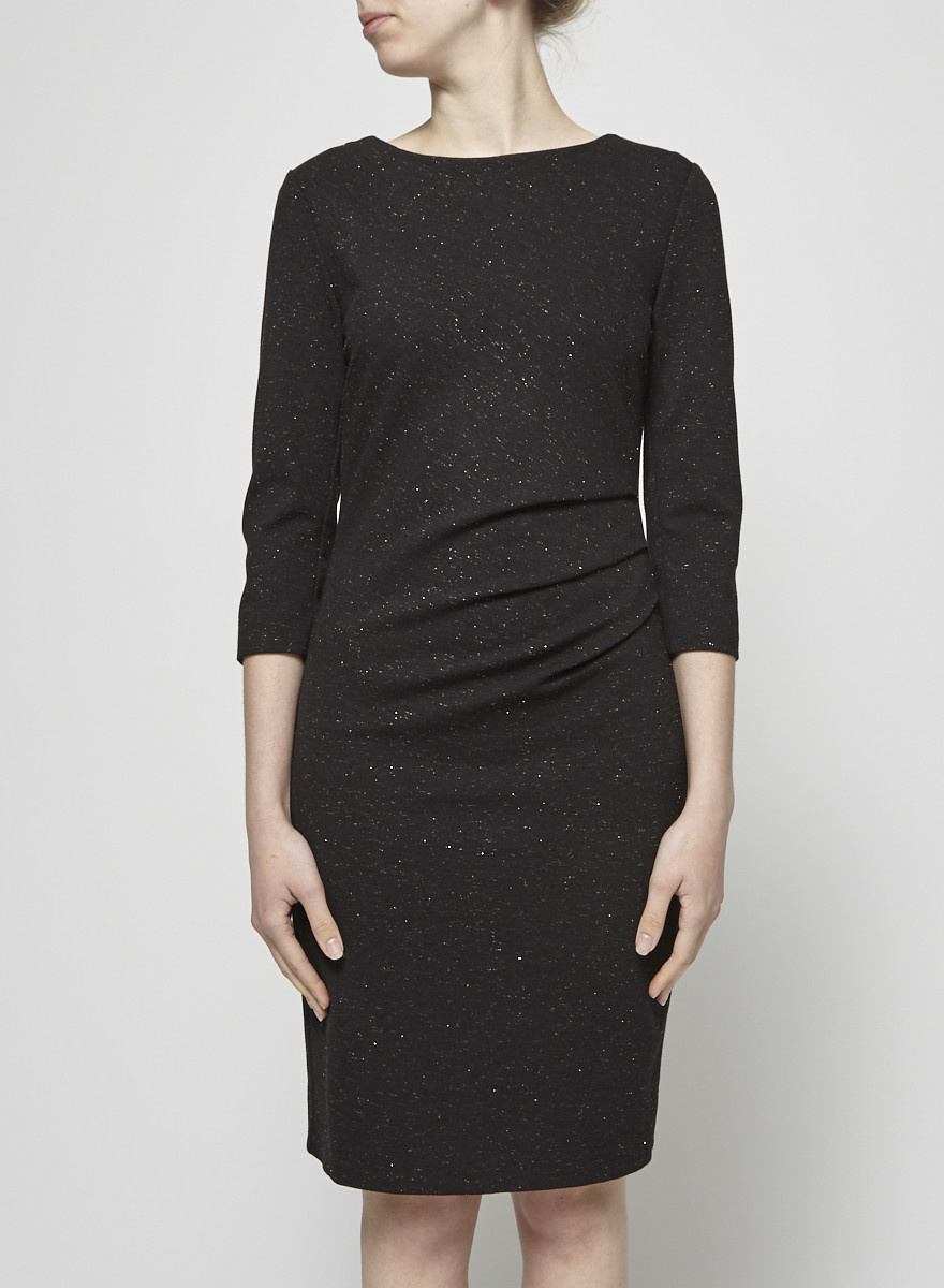 Tiger of Sweden Black Draped Dress with Golden Threads
