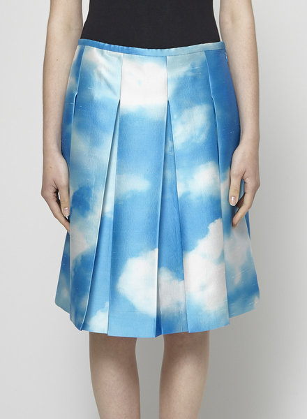 Michael Kors Collection BLUE SKY PRINT PLEATED SILK SKIRT