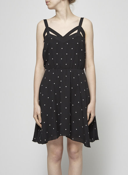 Eve Gravel BLACK DRESS WITH SMALL WHITE CROSSES
