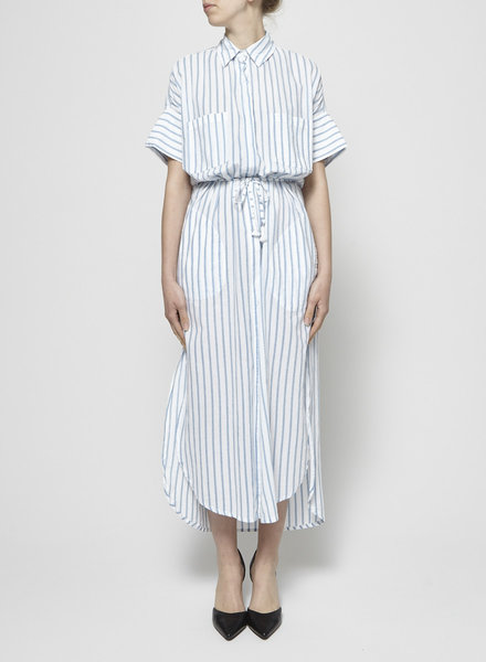Faithfull The Brand BLUE AND WHITE STRIPES LONG DRESS