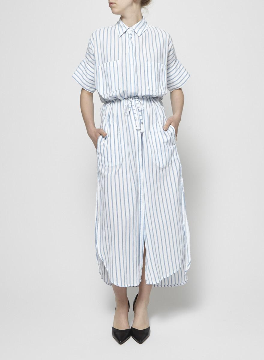 Faithfull The Brand Robe longue rayée blanc et bleu