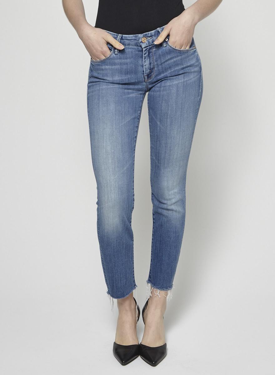 Mother Jeans bleu effiloché