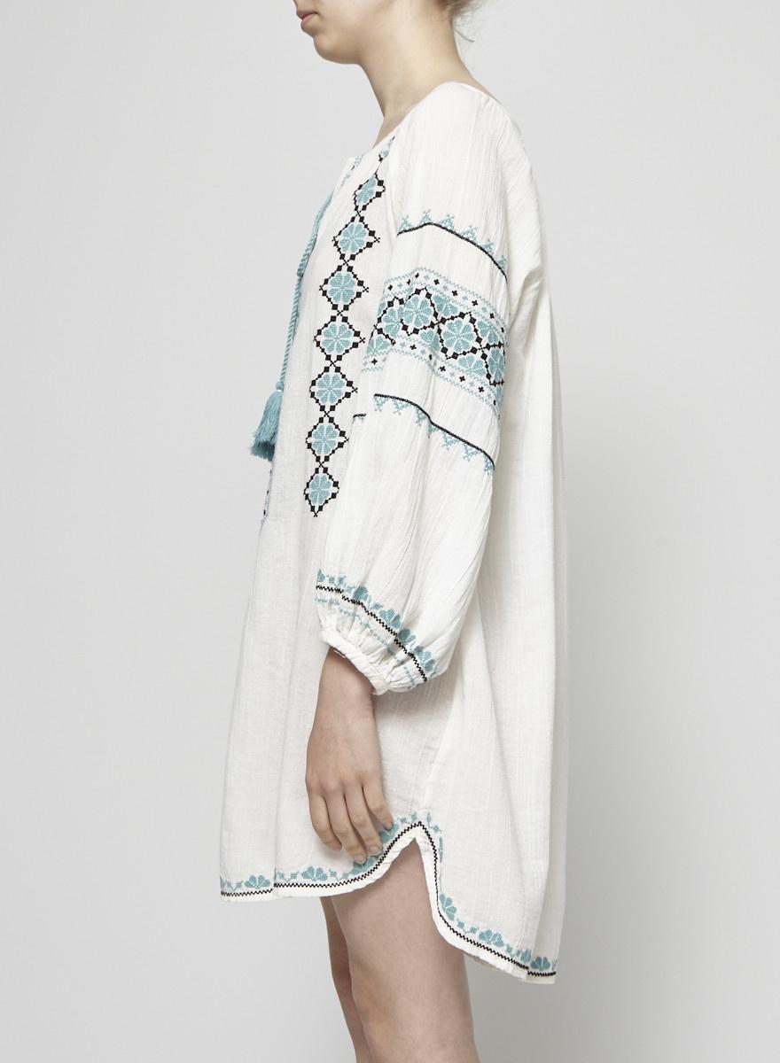 Star Mela Tunique blanc cassé broderies turquoise