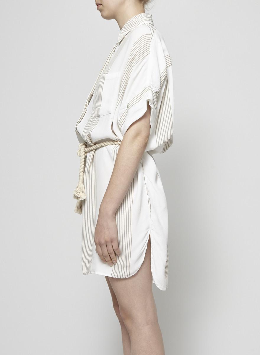 Faithfull The Brand White Belted Striped Dress