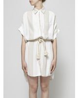 Faithfull The Brand WHITE BELTED STRIPED DRESS