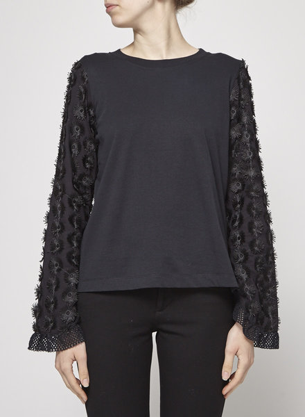 See by Chloe BLACK TOP WITH FLOWER SLEEVES - WITH TAG