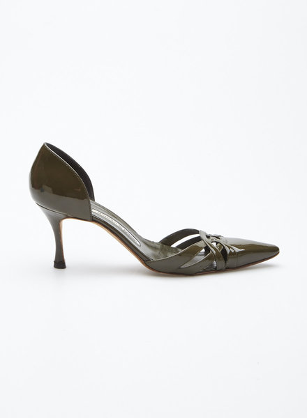 Manolo Blahnik FOREST GREEN PATENT LEATHER PUMPS