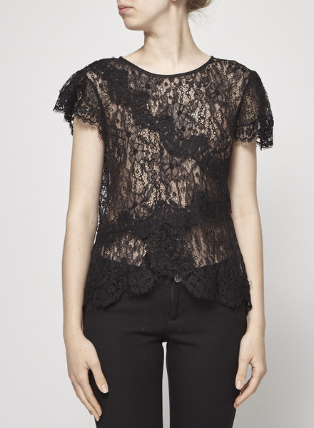 Isabel Marant LACED BLACK TOP WITH EMBROIDERED FLOWERS