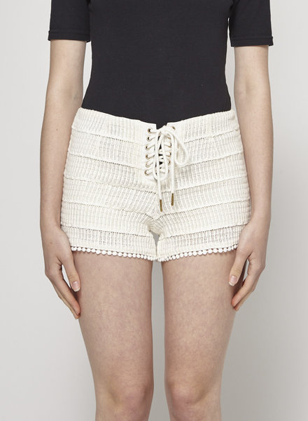 Heartloom LACE-UP OFF-WHITE MACRAME SHORTS