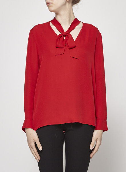 Judith & Charles RED PUSSY-BOW SILK BLOUSE - NEW WITH TAGS